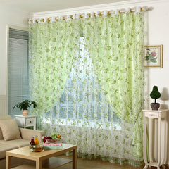 Beautiful fresh green color quality jacquard window screening tulle finished product panel curtains