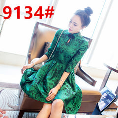 New Spring Vintage Women dress Slim Half Sleeve 2017 Celebrities Green Robe Dresses 9134