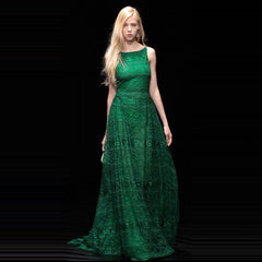2017 runway womens fashion red / green long lace dress boat neck sleeveless a line ankle length party dresses maxi summer dress