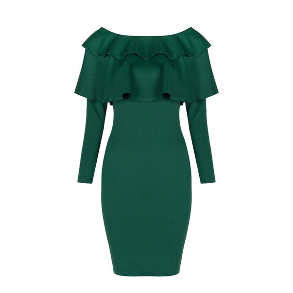 2017 New Women Hot Classy Evening Off Shoulder o-neck Ruffles Long Sleeve Green Wine Bodycon Party Dress Elegant Wholesale