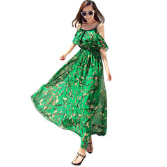 2017 Summer Women Long Beach Dress Plus Size Floral Print Elegant High Quality Ladies Maxi Chiffon Dresses Off Shoulder Green