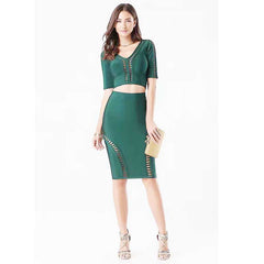 wholesale 2017 New style dress Black And green  Hollow Out Fashion sexy mini Two Piece Set Cocktail party bandage dress (H1453)