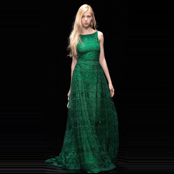 2017 Summer Runway Womens Party Dresses HIGH QUALITY Sexy sleeveless floral embroidery lace maxi long dress red/green vestidos