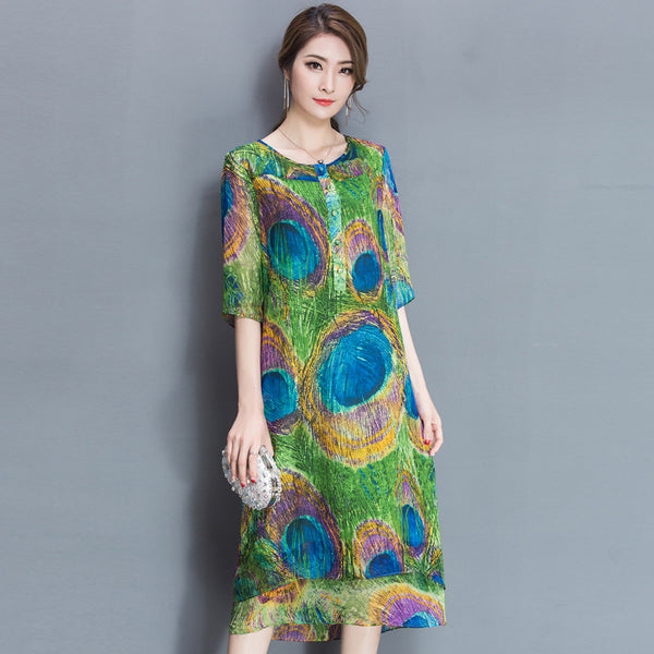 Silk one-piece dresses fashion printed women dress 2017 print spring summer green  irregular knee length dress female