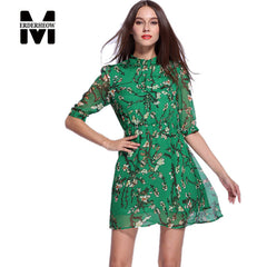 Merderheow New Europe 2017 Summer Style Women's Green Floral Printing Chiffon Silk Dress Femme Casual Sexy Slim Dresses L120