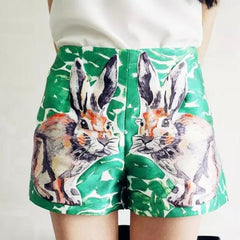 2016 women summer rabbit Patch print shorts pocket green sexy harem short
