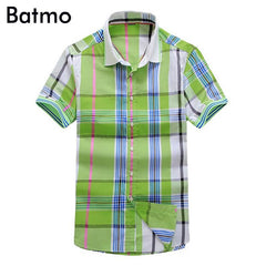 2017 new arrival 100% cotton plaid green casual men's shirt,fashion Short slevees shirt men, size M,L,XL,XXL,3XL A450-1