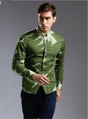New Wholesale Dark Green Camouflage Men's Shirt Long Sleeve Men's Shirt Slim Casual Fashion Printed Men's Shirt A2167