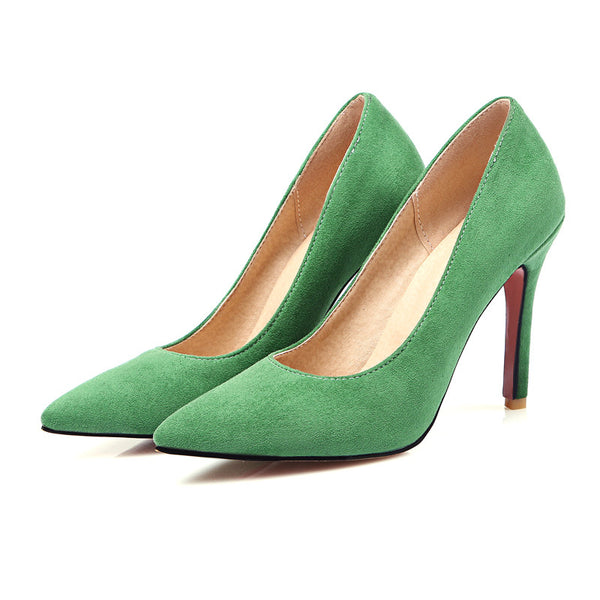 Chinese casual style sexy pointed toe pumps fashion slip on black red green high-heeled women's shoes big size