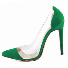 See-Through Pointed Toe Women Shoes Thin Heels High-Heeled Shoes Women Pumps Height 11 CM, Green