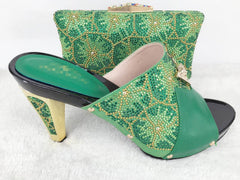 Fashion African Shoe And Bag Set For Party Italian Shoe With Matching Bag New Design Ladies Matching green Shoe And Bag Italy