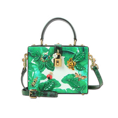 2017 famous brand 3D insects print women handbag genuine leather women luxury designer messenger bags ladies green bags baobao