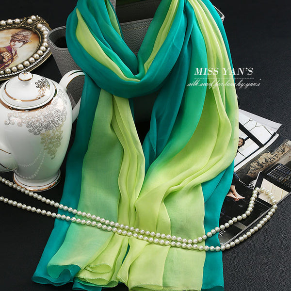 Genuine Silk Women Scarf Fashion Classic Fruit Green Scarves 2016 Summer Autumn Winter Good Quality Necklace Shawl