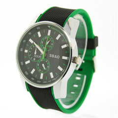 Sbao Mens Green Watch Casual Watch Men Quartz With 22mm Water Resistant Men's Sport Watch Rubber Silicone Bracelet Watches