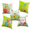Easter Egg Pattern Cushion Cover Decorative Cartoon Design Throw Pillow Case Green Easter Gift  For  Living Room Sofa