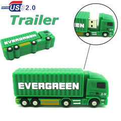 mini trailer cargo truck USB Flash Drive green Container car Pen Drive 32GB 16GB 8GB 4GB PenDrive USB 2.0 U Disk real capacity