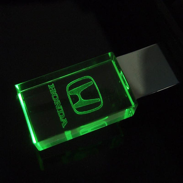 New Crystal USB Flash Pen drive 4GB 8GB 16GB 32GB with Car logo Honda and Red/Blue/Green LED light USB 2.0 memory Stick gift box