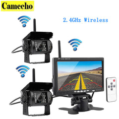 Wireless Vehicle Car 2 Backup Cameras Monitor, Ir Night Vision Rear View Camera + 7