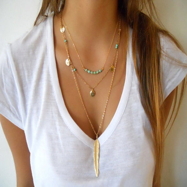 New Fashion Boho Women's Simple Chain Multilayer Necklace Gold Plated Turquoise Feather Pendant Sequins Tassel Necklace