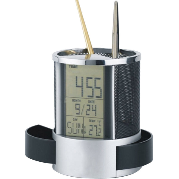 LCD Display Electronic Digital Desk Table Calendar Thermometer Alarm Clock reloj despertador Pen Pencil Holder Black