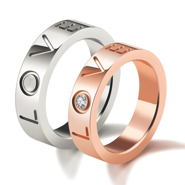 Stainless Titanium Steel Jewelry His and Hers Anniversary Gift Couple Rings set Romantic Love Engagement Ring Wedding Band