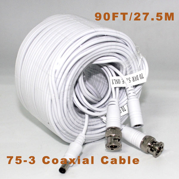 27.5m CCTV Video Cable Video+Power BNC+DC 90FT BNC Coaxial Cable CCTV Accessories 75-3 Coaxial Cable