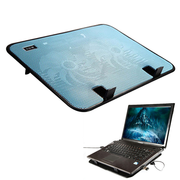 14 inch Cooling Pad USB Adjustable Notebook Computer Pad Anti-slip Laptop Cooling Pad 2 Quiet Fans for 10-14 inch Laptop Blue