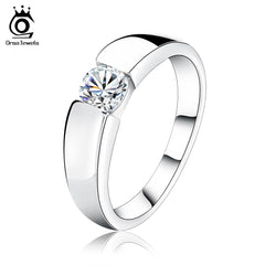 ORSA JEWELS 2017 Popular Silver Color Ring Model with Clear AAA Grade CZ Hot Sale Lead & Nickel Free Ring for Women and Men OR03