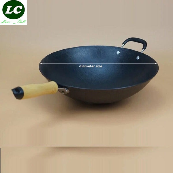 FREE SHIPPING CAST IRON WOK COOKING POT  NO COATING NON-STICK ORIGINAL IRON PAN COOKING PAN