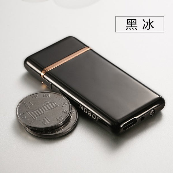 usb charge electronic 702 lighter windproof thin male personality rechargeable  lighter,packed into cigarette case