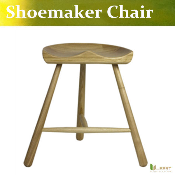 Free shipping U-BEST Nordic wood chairs legged chair bar stool chair cobbler solid wooden bench Shoemaker barstools