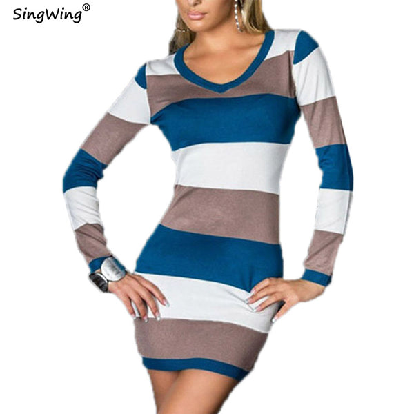 Singwing Women Long-sleeved striped Dresses V-neck Casual Style Sheath Dress Autumn Female's Dresses