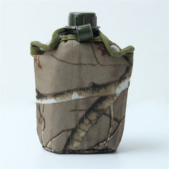 Military Army Green Plastic 850ml Water Drinking Bottle Canteen with Cloth Cover for Outdoor Sports Hiking Camping Travel