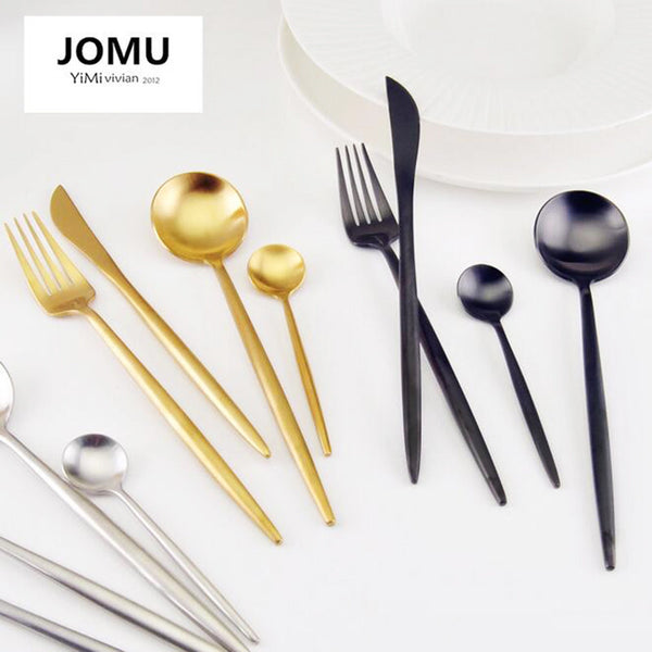 New 2017 Brand Dinnerware Set 304 Stainless Steel Cutlery Set 4 Pieces Black Knife Fork Set Tableware Gold Cutleries G320