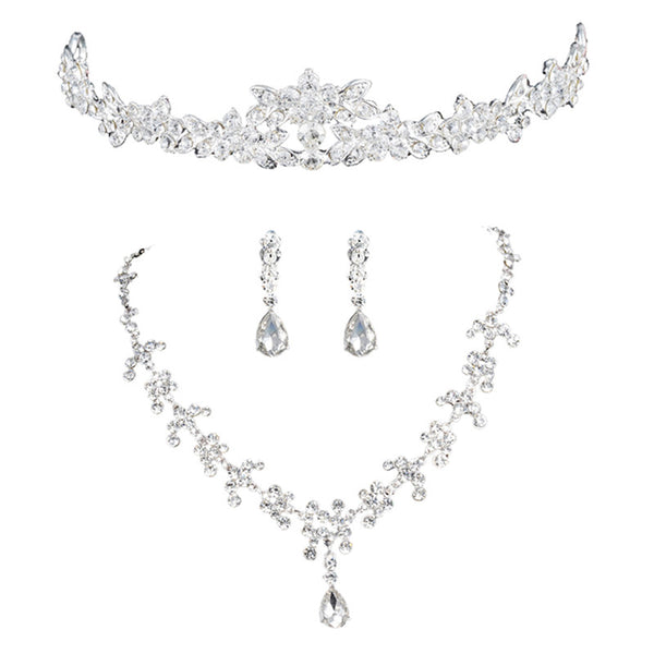 New Hot Selling Romantic Rhinestone Panicle Crown Necklace and Earrings Wedding Bridal Jewelry Set
