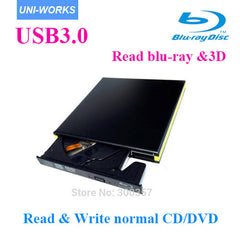 USB3.0 Bluray drive External bluray combo read blu-ray disc 3D and write normal CD DVD aluminium support windows10 and Mac
