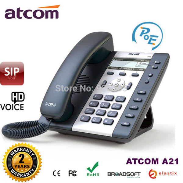 ATCOM A21 POE 2 SIP Line Entry-level business IP Phone Dual core CPU, HD voice, backlight LCD  Desktop office VoIP telephone