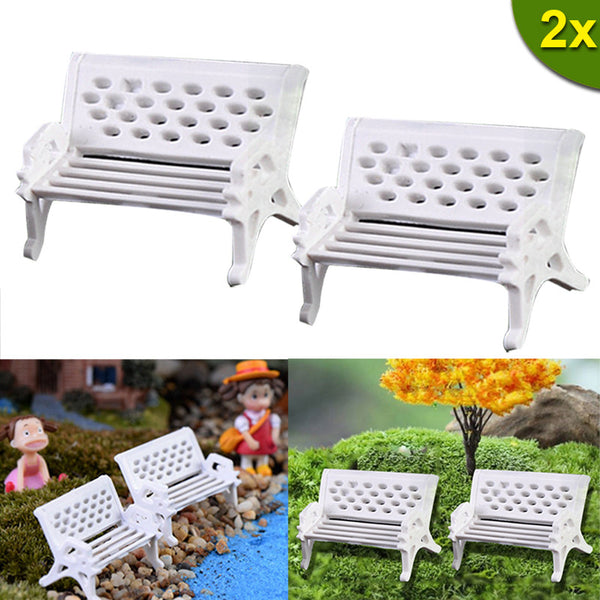 Home Garden Decor Diy Toys  2PCS Miniatures Dollhouse Furniture Mini Silla Chair Bench Stool Ornaments Wooden Props   LS