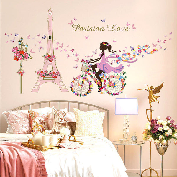 Brand 2017 145*80 Paris Wall Sticker For Kids Rooms Eiffel Tower Flower Butterfly Fairy Girl Riding Art Decal Home Decor Mural