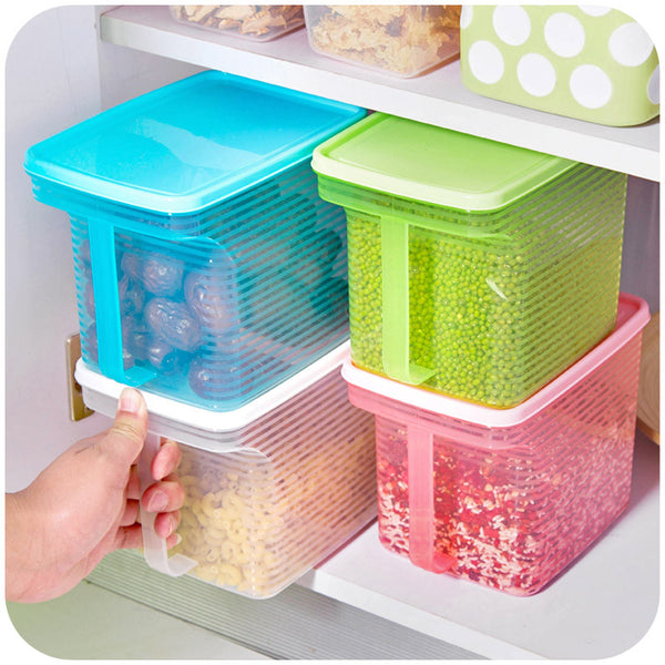 Creative stackable single vanzlife handle kitchen cabinets refrigerator grains sealed plastic storage tank storage box