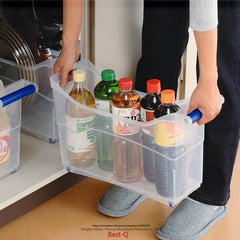 Free shipping plastic pull box kitchen cabinets and storage box with transparent tableware basket large pulley
