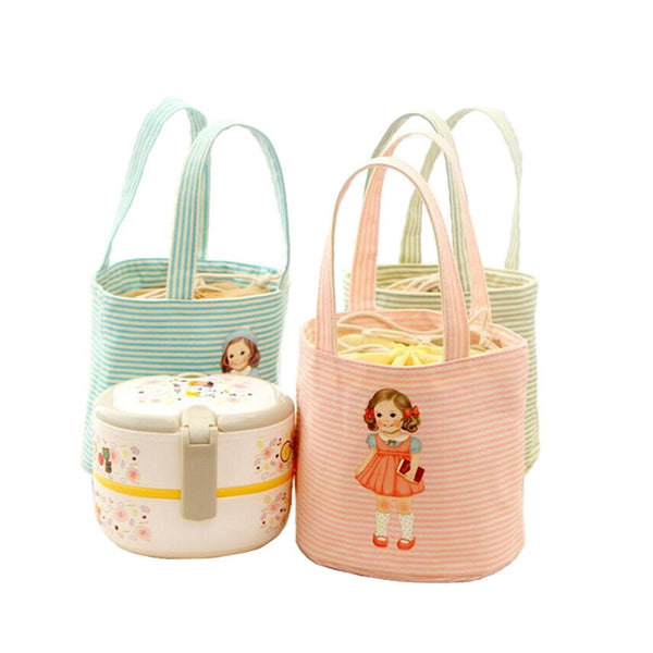 DINIWELL Little Girl Pattern Thermal Cooler Insulated Bento Pouch Lunch Bags Portable Lunch Storage Barrel-shape Canteen Bag