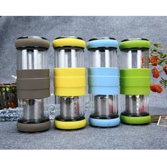 300ML Creative Transparent Glass Bottle Leisure Office Canteen Portable Sports Water Bottles (3 Colors)