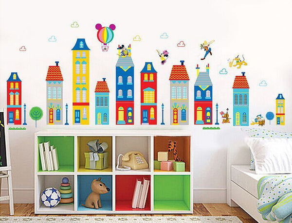 wholesale Children room background can remove stickers cartoon house building wall stickers lovely Mickey XY1128