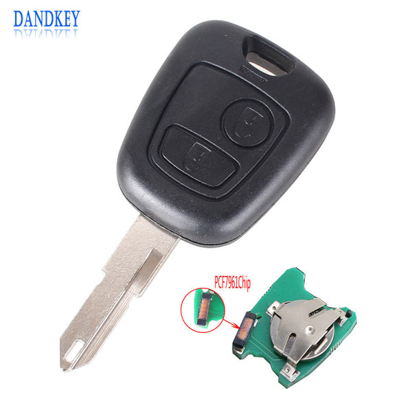Dandkey 2 Buttons Remote Car Key For Peugeot 206 306 405 433MHz Transponder Key With PCB Battery With PCF7961 Chip