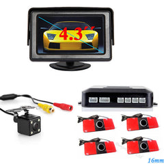 3 in 1 Car Video Parking Sensor Assistance System With Rear View Camera+4.3 inch LTF LCD Car Mirror Monitor+Video Parking Sensor