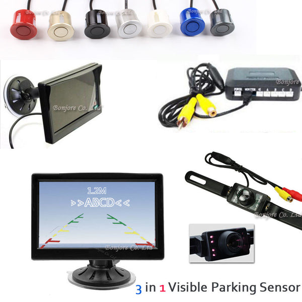 HD 800*480 5 inch Auto Car Monitor 2 Video Input System & IR 7 LED Car Rear View Camera & Parking Sensor Backup 4 Radar System