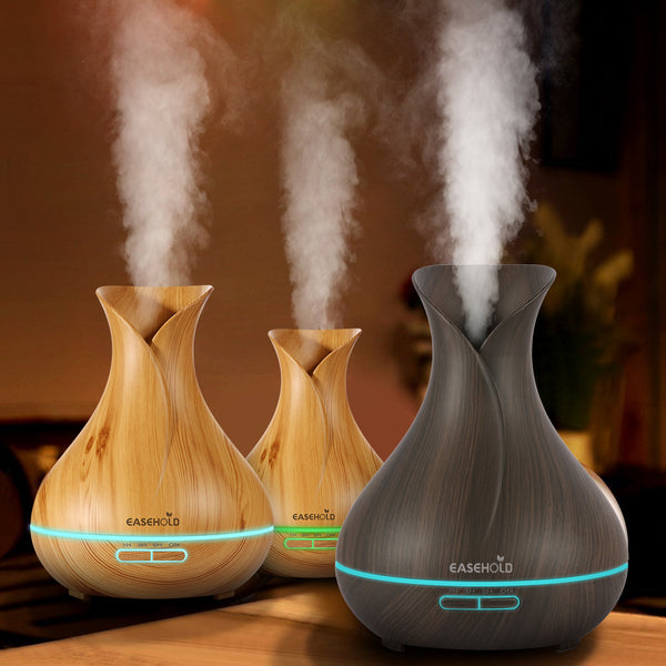 EASEHOLD 400ml 7Color Aroma Essential Oil Diffuser Ultrasonic Air Humidifier with Wood Grain Changing LED Lights