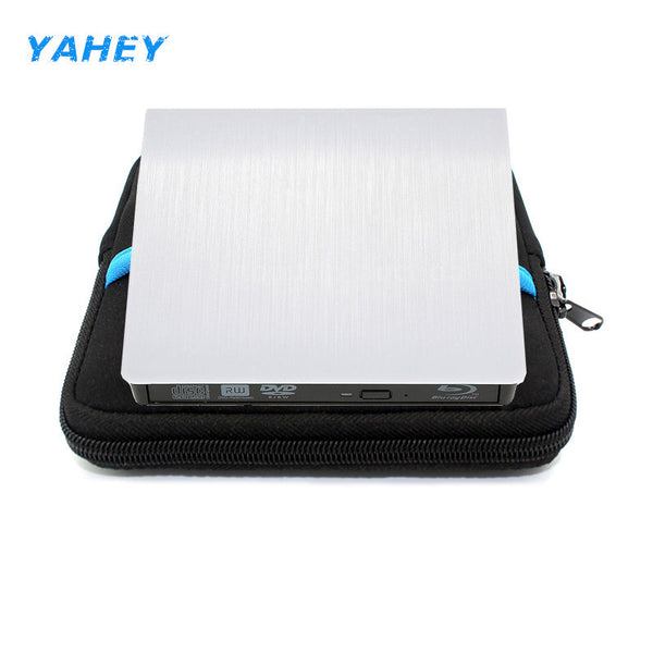USB 3.0 Blu-ray BD-ROM Drive Player External CD/DVD RW Burner Writer Recorder Portable for Laptop imacbook+Drive case pouch bag