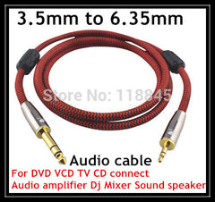 1m 2m 3m @ TRS 3.5mm to 6.35mm male Audio Cable For power amplifier mixing console Guitar Electronic organ Cable cords